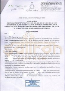 giấy chứng nhận nhụy hoa nghệ tây saffron việt nam